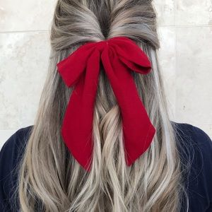 Red hair bow with hairband